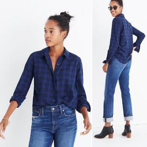 MADEWELL • Arion faux wrap navy plaid shirt